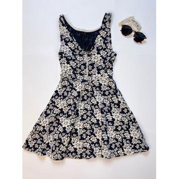 Sukienka w czarno-białe kwiaty H&M rozmiar 34