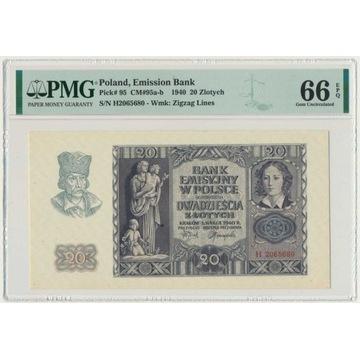 20 złotych 1940 H PMG 66 EPQ