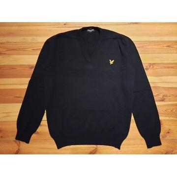 Lyle & Scott czarny sweter 100% wełna XXL