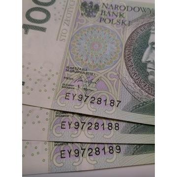 Nowe Banknoty 3x banknot 100zł /nr po nr/ licy.bcm