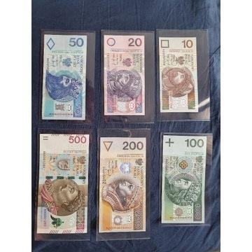 Banknoty kolekcjonerskie 10-500zł s.AA 1994 r. UNC
