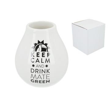 Matero Ceramico LUKA WHITE z logo KEEP CALM