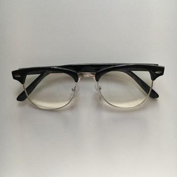 Okulary zerówki czarne grube górne oprawki