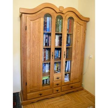 Witryna, biblioteka, dąb, lite drewno, pojemna