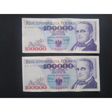 100000 złotych 1993 r. Serie A i AA