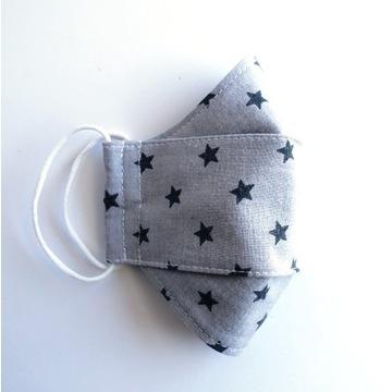 Maseczka bawełniana dziecięca szara w gwiazdki