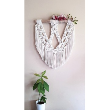 Makrama boho - na ścianę kwiat lotosu rękodzieło
