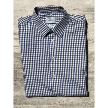 Męska koszula Albione 39/40 cm slim j nowa w kratę