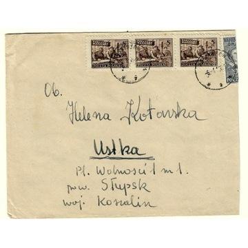 Koperta z 1948r z 3 znaczkami nr 513