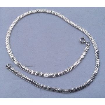 Łańcuszek naszyjnik ozdobna taśma srebro 925 14g