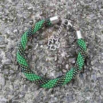 Bransoletka szczęścia damska zielona koniczynka