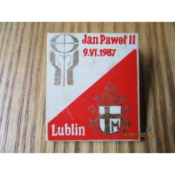 przypinka JAN PAWEŁ II LUBLIN 9. VI. 1987