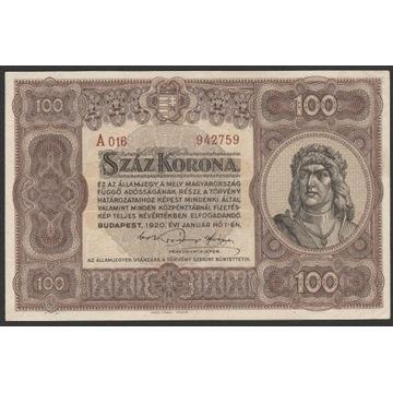 Węgry 100 koron 1920 - stan 2/3