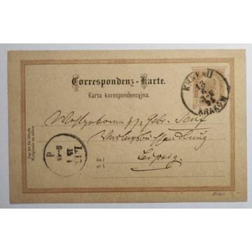 CP 10 typIII Karta Korespondencyjna KRAKÓW 1890