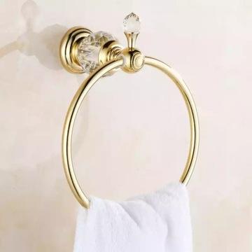 Okrągły wieszak na ręcznik uchwyt złoty kryształ