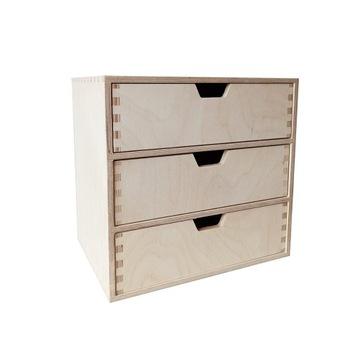 Mini komoda drewniana organizer 3 szuflady