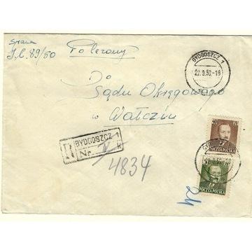 Koperta z 1950r z 2 znaczkami nr 519 i 525