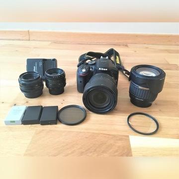 Nikon D5300 + 18-105 + 3 obiektywy + dodatki