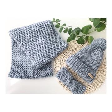 Komplet zimowy czapka szalik opaska 25% wełny