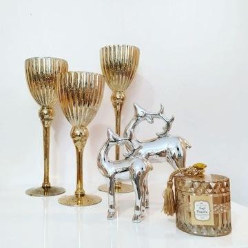 Komplet świeczników złotych glamour