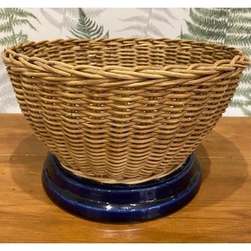 Koszyk na owoce owocarka ceramika+wiklina