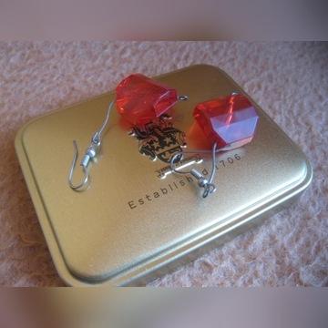 Kolczyki kryształki 1 para czerwone OUTLET ŻAGIEL