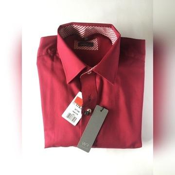 Koszula Willsor Slim Fit czerwona