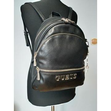 Guess plecak LOGO srebrne detale czarny!