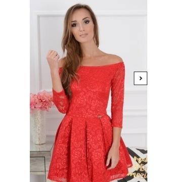Sukienka czerwona koronkowa lou