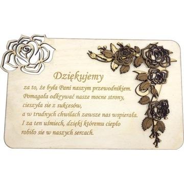 Kartka podarunkowa róża drewo