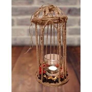 JESIEŃ KLATKA Dekoracyjna Lampion jutowy handmade