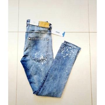 Nowe niebieskie jeansy H&M xl 34 dziury przetarcia