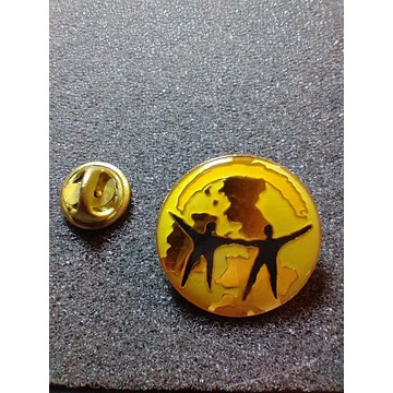 Przypinka złoto-żółta w kształcie Ziemi, Pin, Pins