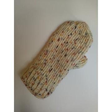 rękawiczki kremowe, ocieplane polarem, oversize