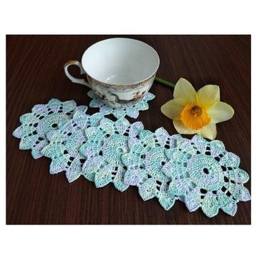 Serwetki ( podkładki ) melanż zieleń, lila, 6 szt