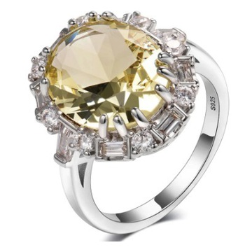 Srebrny pierścionek 925 z dużym cytrynem, r.7US.