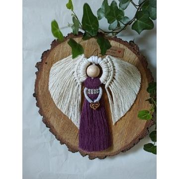 Aniołek makrama dekoracja chrzest komunia
