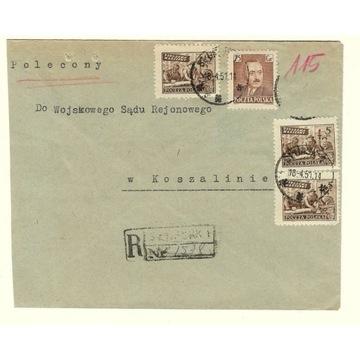 Koperta z 1951r z 3 znaczkami nr 513 oraz nr  540
