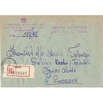 Mońki - Koperty listów poleconych 1960-80