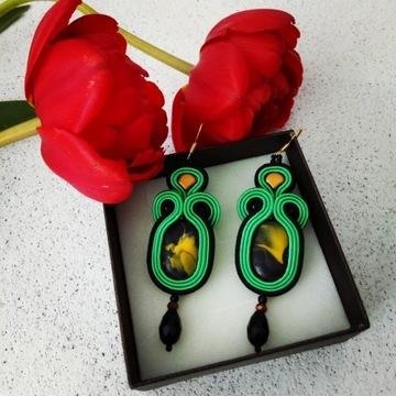 Kolczyki sutasz w kolorze zieleni i czerni