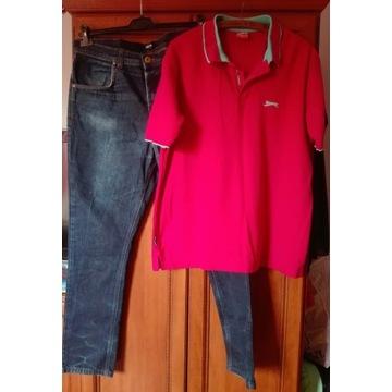 Z-w markowe Spodnie Dżinsy oraz Polo męskie r. XL