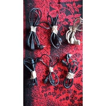 Kable zasilania 6 sztuk +jeden z przedłużeniem