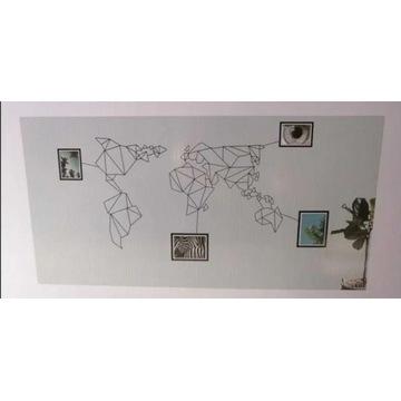Mapa świata metalowa kontynenty z ramkami na zdjęc