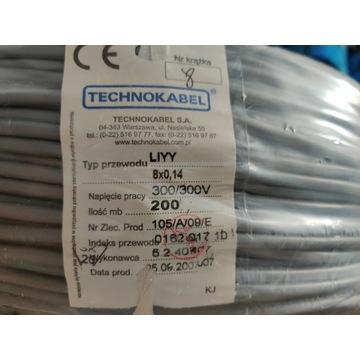 Przewód kabel LIYY 8x0,14 szpulka 200 mb tanio!!!