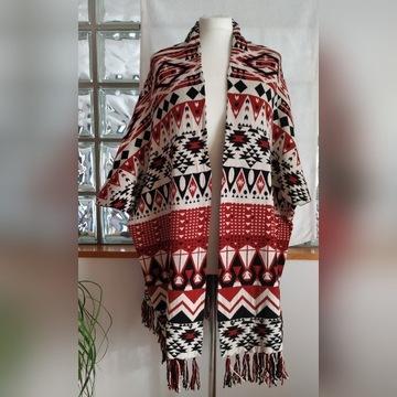 H&M Narzutka oversize poncho wzór