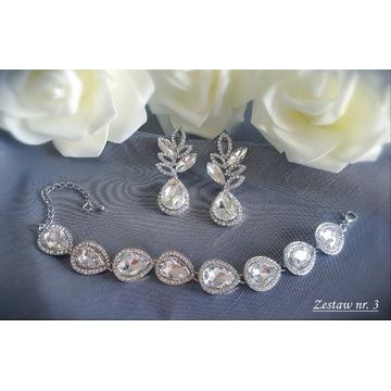 Komplet biżuteria ślubna wieczorowa cyrkonie Z3