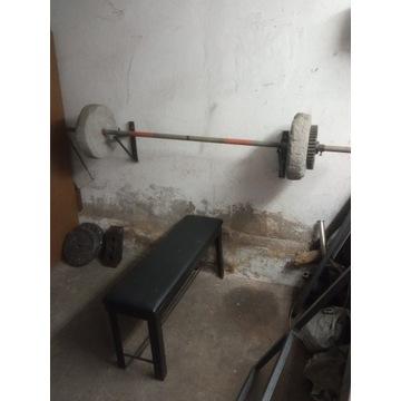 Sztanga do ćwiczeń + ławeczka
