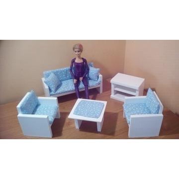 Salon dla lalek Sofa,2x Fotel,Stolik,Szafka Tv