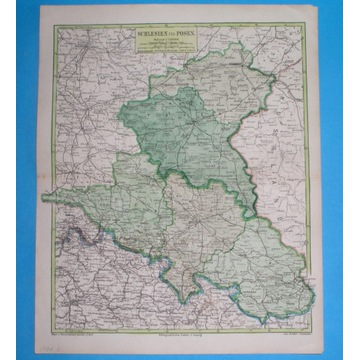 1874 MAPA ŚLĄSK WIELKOPOLSKA Poznań Wrocław Toruń