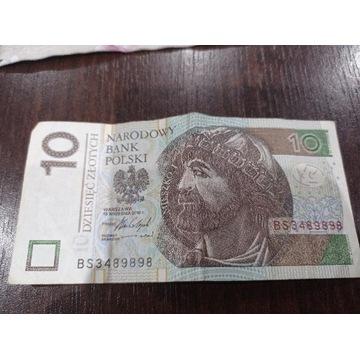Banknot 10zł o numerze BS3489898